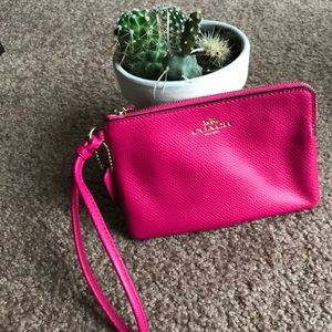 Coach leather Wristlet Hot Pink